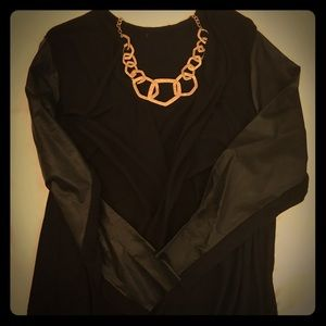 Black Cardigan with Pleather Sleeves 2X